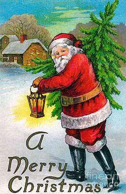 Santa Carrying A Christmas Tree Print by American School