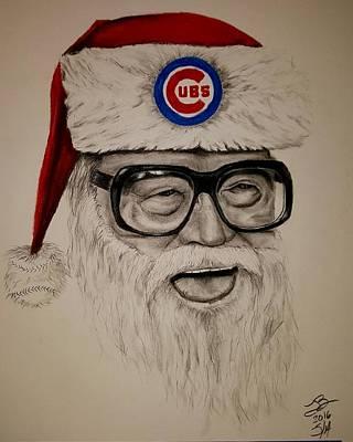 Chicago Baseball Drawing - Santa Cary by Tim Brandt