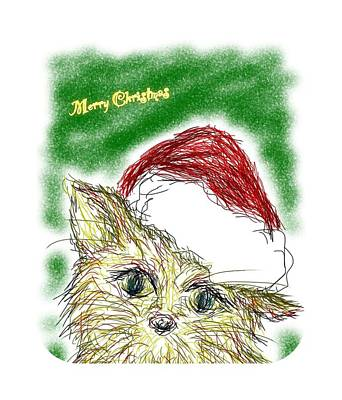 Drawing Drawing - Santa Cat by Kumiko Izumi
