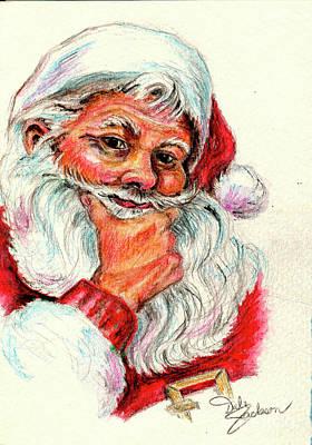 Painting - Santa Checking Twice Christmas Image by Dale E Jackson