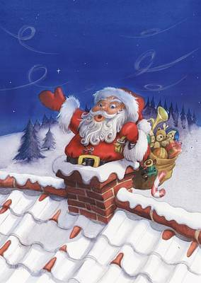 Painting - Santa Chimney by Andy Catling