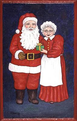 Christmas Painting - Santa Claus And Mrs Claus by Linda Mears