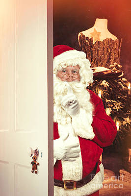 Santa Claus At Open Christmas Door Art Print by Amanda Elwell