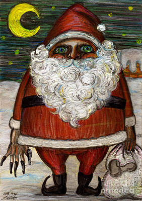 Santa Claus By Akiko Art Print by Akiko Okabe