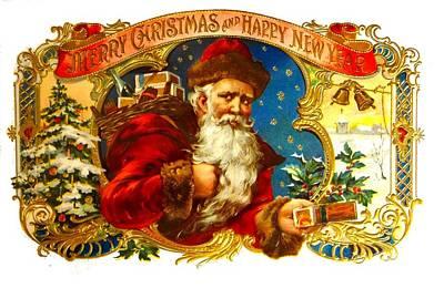 Photograph - Santa Claus Cigar Label by Marianne Dow