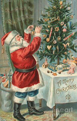 Santa Claus Decorating A Christmas Tree Art Print by American School