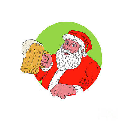 Kris Kringle Digital Art - Santa Claus Drinking Beer Drawing by Aloysius Patrimonio