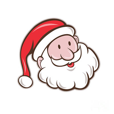 Santa Claus Father Christmas Head Smiling Cartoon Art Print