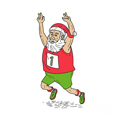 Kris Kringle Digital Art - Santa Claus Father Christmas Running Marathon Cartoon by Aloysius Patrimonio