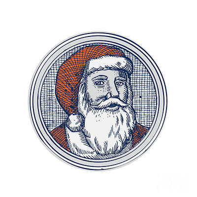 Santa Claus Father Christmas Vintage Etching Art Print