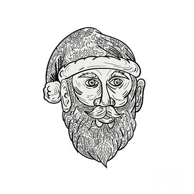 Kris Kringle Digital Art - Santa Claus Head Mandala by Aloysius Patrimonio