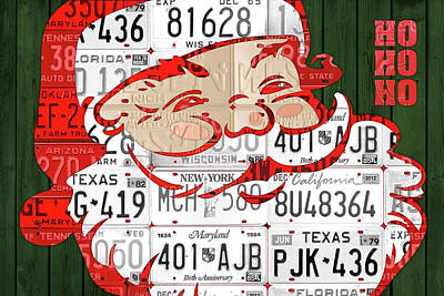 Snow Mixed Media - Santa Claus Ho Ho Ho Recycled Vintage Colorful License Plate Art by Design Turnpike