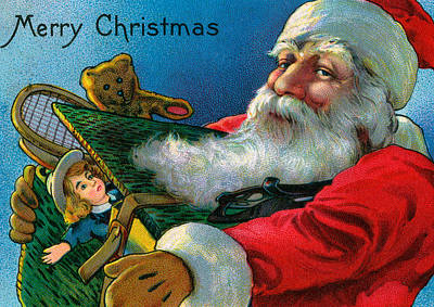 Santa Claus Holding Toys Art Print by American School