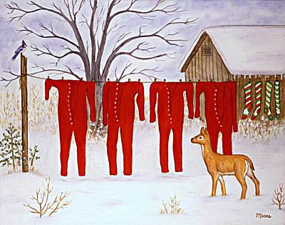 Santa Claus' Long Johns  Art Print by Linda Mears