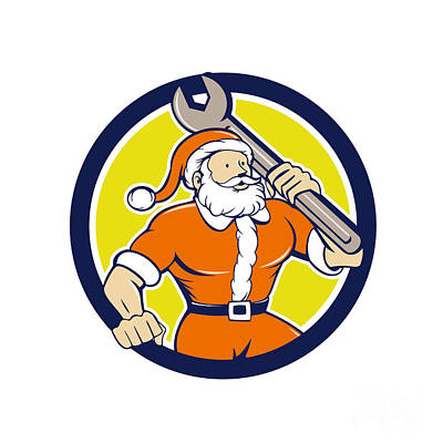 Old Man Digital Art - Santa Claus Mechanic Spanner Circle Cartoon by Aloysius Patrimonio