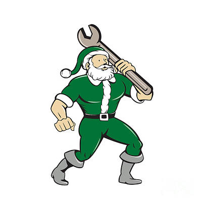 Old Man Digital Art - Santa Claus Mechanic Spanner Isolated Cartoon by Aloysius Patrimonio