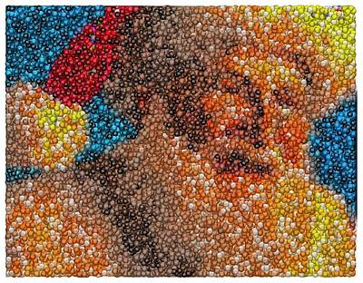 Art Print featuring the mixed media Santa Claus Mm Candy Mosaic by Paul Van Scott