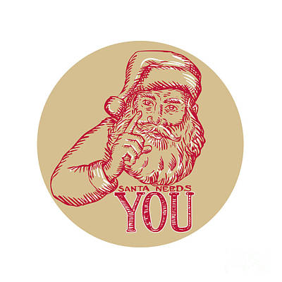 Kris Kringle Digital Art - Santa Claus Needs You Pointing Etching by Aloysius Patrimonio
