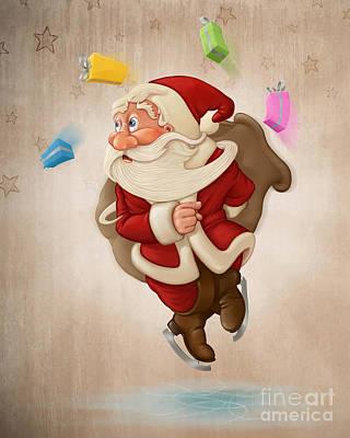 Sports Paintings - Santa Claus on ice by Giordano Aita