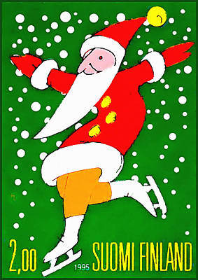 Santa Claus On Skates Print by Lanjee Chee