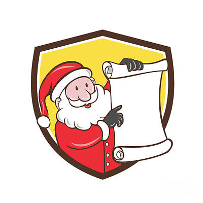 Old Man Digital Art - Santa Claus Paper Scroll Pointing Shield Cartoon by Aloysius Patrimonio