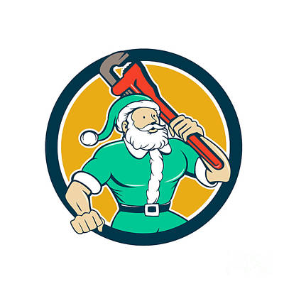 Old Man Digital Art - Santa Claus Plumber Monkey Wrench Circle Cartoon by Aloysius Patrimonio