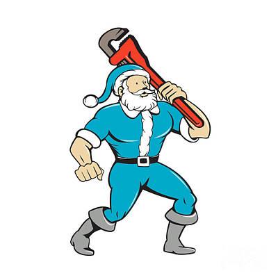 Old Man Digital Art - Santa Claus Plumber Monkey Wrench Isolated Cartoon by Aloysius Patrimonio