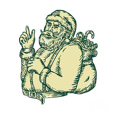 Kris Kringle Digital Art - Santa Claus Pointing Side Etching by Aloysius Patrimonio