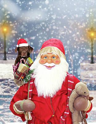 Labrador Digital Art - Santa Claus W Christmas Gifts Labrador Terrier Dog by Sapan Patel