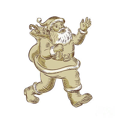 Kris Kringle Digital Art - Santa Claus Walking Waving Etching by Aloysius Patrimonio