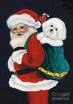 Santa Claus With Bichon Frise Art Print