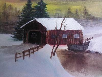 Covered Bridge Painting - Santa Clause Sleigh Route Covered Bridge 1 by Jason Layne