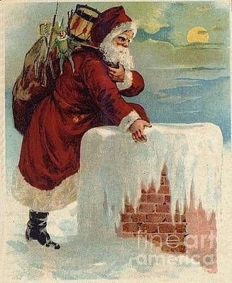 Santa Climbing Down Chimney Original
