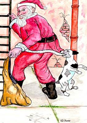 Mixed Media - Santa Climbs The Ladder by Philip Bracco