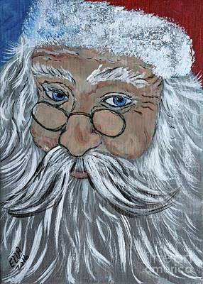 Painting - Santa Colorful Christmas Art Print by Ella Kaye Dickey