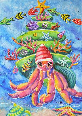 Painting - Santa Crab by Li Newton