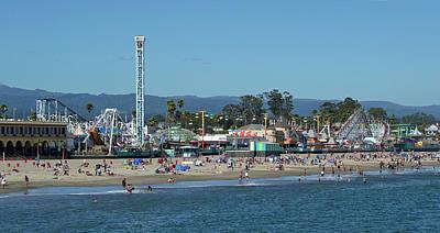 Santa Cruz Boardwalk And Beach - California Art Print by Brendan Reals