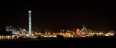 Rollercoaster Photograph - Santa Cruz Boardwalk By Night by Brendan Reals