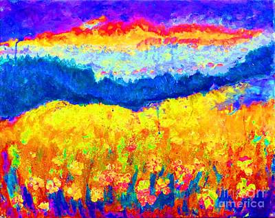 Mountain Sunset Mixed Media - Santa Cruz Mountains by Lynn Rogers