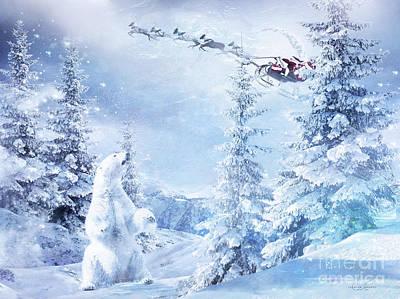 Bear Mixed Media - Here Comes Santa by Shanina Conway