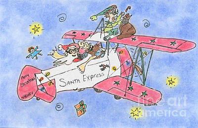 Pastel - Santa Express by Vonda Lawson-Rosa