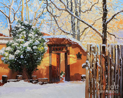 Rooftops Painting - Santa Fe Adobe In Winter Snow by Gary Kim