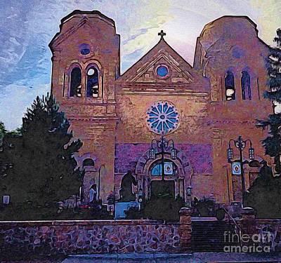 Digital Art - Santa Fe Cathedral by Anne Sands
