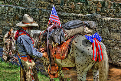 Waving Flag Photograph - Santa Fe Cowboy by David Patterson