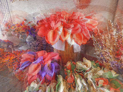 Digital Art - Santa Fe Flower Market by Ann Johndro-Collins