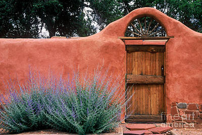 Country Scene Photograph - Santa Fe Gate No. 2 - Rustic Adobe Antique Door Home Country  by Jon Holiday