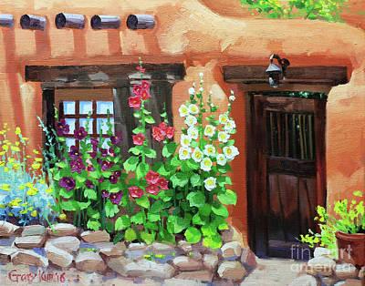 Santa Fe Hollyhocks Print by Gary Kim