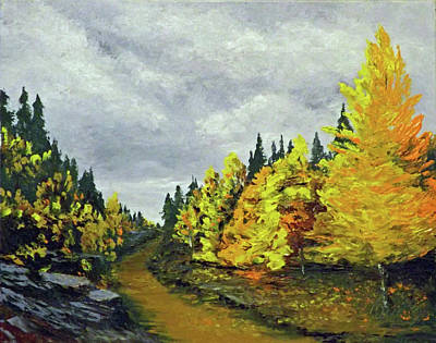 Painting - Santa Fe Mountains Aspen Trail by Carl Owen