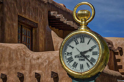 Photograph - Santa Fe Plaza Clock by Stuart Litoff