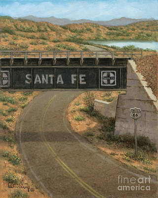 Painting - Santa Fe Railway, Rt 66 by Janet Kruskamp